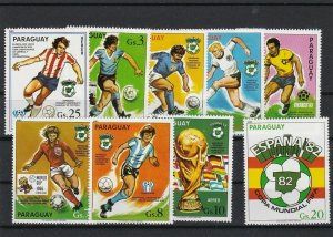 Paraguay No Gum Mint Football Stamps Ref 26252