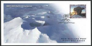 NEW ZEALAND 1997 $10 Mt Ruapehu - volcano - commem FDC, well under face....60639