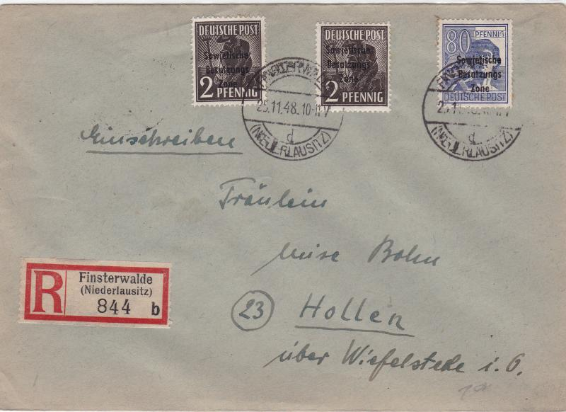 Germany Soviet Zone 1948 Finsterwalde to Hollen  stamps cover  R20719