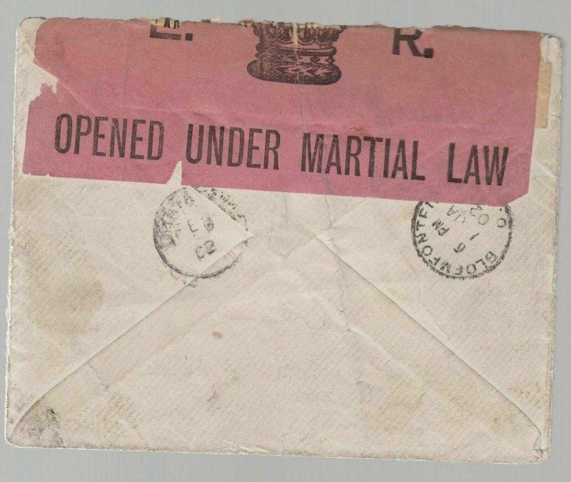 1901 Orange River Colony Censored Martial Law Cover to POW Camp Ceylon
