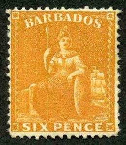 Barbados SG79 6d Chrome-yellow perf 14 wmk Crown CC M/Mint Cat 150 pounds