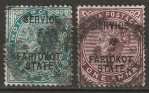 India Faridkot 1886 Sc O1-2 official used thins