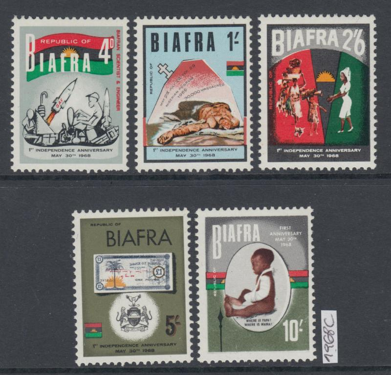 XG-AK104 BIAFRA - Independence, 1968 1St Anniversary, 5 Values MNH Set