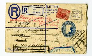 Malaya Stamps Cover 1932 Registered Uprated & Redirected 4x back stamp