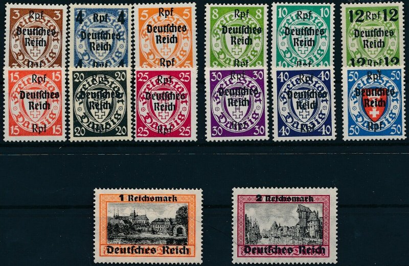 Stamp Germany Mi 716-29 1939 WWII Reich Danzig Empire Port Poland Overprint MH