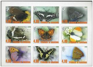 TURKS CAICOS SHEET IMPERF CINDERELLA BUTTERFLIES INSECTS