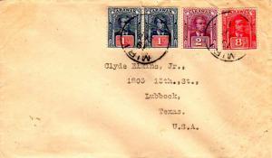 Sarawak 1c (2), 2c, and 8c Sir Charles Vyner Brooke 1929 Miri to Lubbock, Tex.