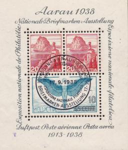 Switzerland 1938 Aarau Souvenir Sheet Sept. 17 Expo Cancel Fine/VF/Used/(O)