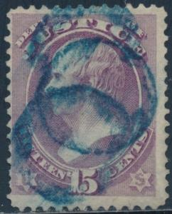 #O31 15¢ DEPT OF JUSTICE F-VF USED WITH BLUE CANCEL CV $205 BT4227
