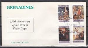 Grenada, Gr., Scott cat. 611-614. Artist Edgar Degas issue on a First day cover.
