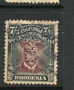 RHODESIA  1913-22  7/6  KGV  FU PERFIN  BSA/C  SG 308