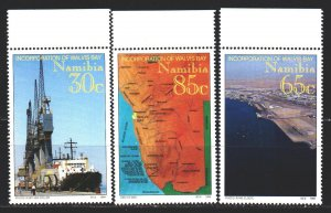 Namibia. 1994. 768-70. Port, ship, map of Namibia. MNH.