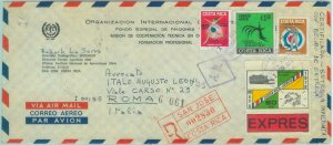 84269 - COLOMBIA - REGISTERED COVER to ITALY 1971 Cancer OLYMPIC GAMES medicine