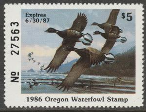 U.S.-OREGON 3, STATE DUCK HUNTING PERMIT STAMP. MINT, NH. VF