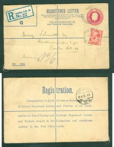 Great Britain. Stationery Cover 1930. Reg. Uprated  1 Penny. Adr: Berlin Germany