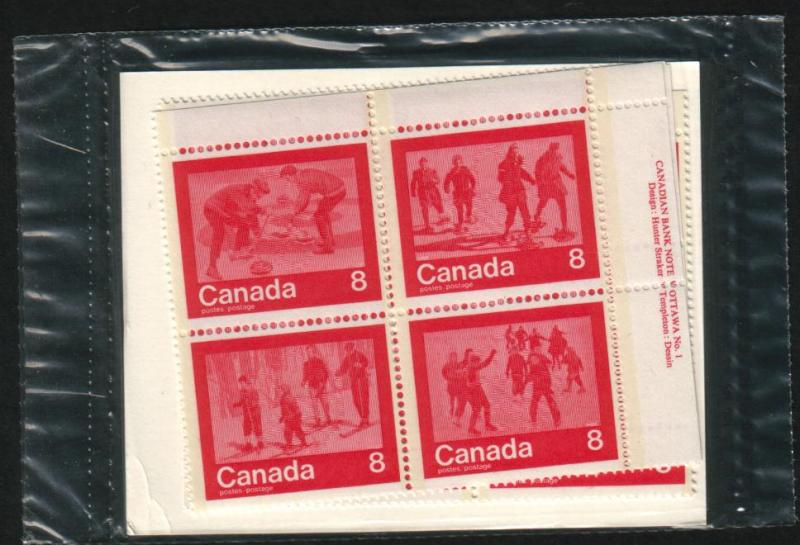 Canada - #647a Winter Sports Matched Set Of Plate Plate Blocks - MNH