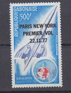 J29765, 1977 concord 1st flight gabon set of 1 mnh #c198 airplane