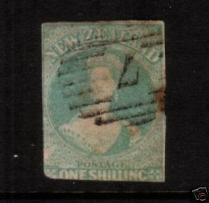 NEW ZEALAND FFQ 1/- DULL EMERALD GREEN FU IMPERF SG16 CHALON