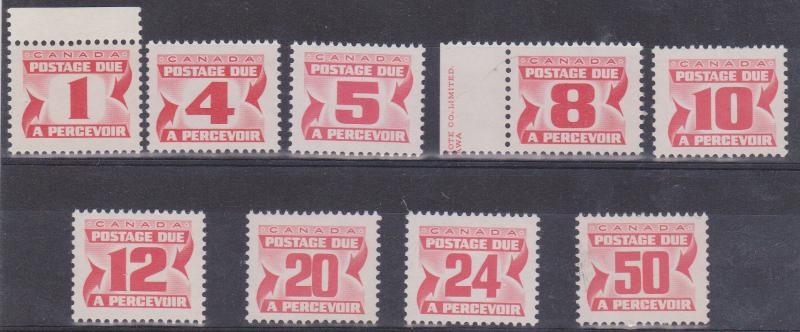 Canada - Fourth Issue Centennial Postage Dues 9 Diff mint NH