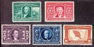 US 323-327 Louisiana Purchase Mint VF-XF OG H SCV $325