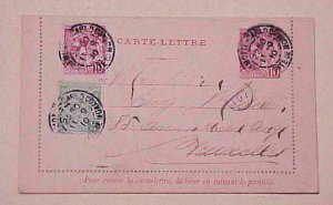MONACO LETTER CARD 1910 WITH 2 EXTRA STAMPS B/S BELGIUM