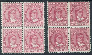 COOK ISLANDS 1893 QUEEN 21/2D BLOCKS BOTH SHADES WMK UPRIGHT PERF 11 */**