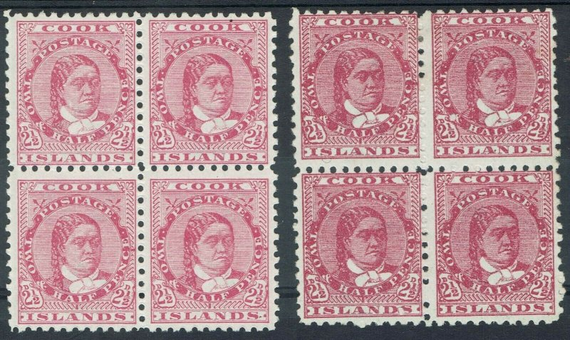 COOK ISLANDS 1893 QUEEN 21/2D BLOCKS BOTH SHADES WMK UPRIGHT PERF 11 */**