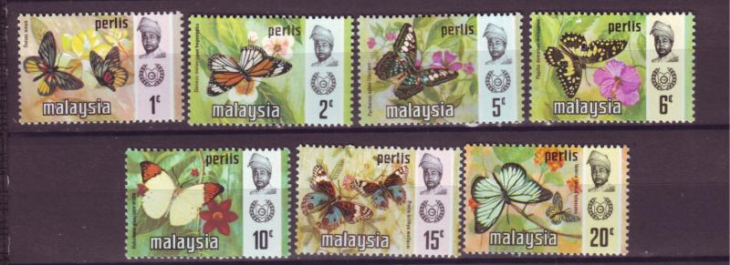 J18022 JLstamp  [low price] 1971 malaya perlis set mh #47-53 butterflies