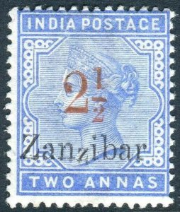 ZANZIBAR-1896 2½ on 2a Pale Blue. A mounted mint example Sg 26