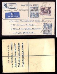 Kenya registered letter to Ireland - Bukoba , Kenya -2 Ap 1958- registration lab