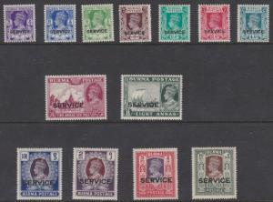 BURMA  1939  S G 015 - 027    OFFICIAL SET OF 13 MH  CAT £280