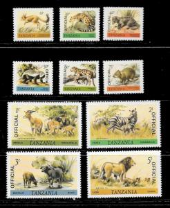 TANZANIA Sc#O27-36 Mint Never Hinged Complete Set