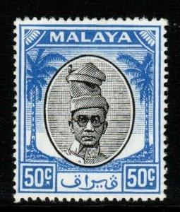 MALAYA PERAK SG145 1950 50c BLACK & BLUE MNH