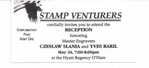 Czeslaw Slania and Yves Baril collateral. Stamp Ventures reception ticket