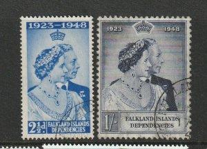 Falkland Dep 1948 Wedding FU SG G19/20