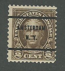 1929 USA Amsterdam, NY  Precancel on Scott Catalog Number 653