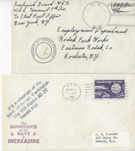 USS Hamul  AD 20  WWII Sailor Mail/Censored & 1961    US Naval Covers