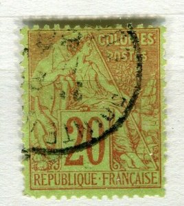 FRENCH COLONIES; Classic 1880s perf issue fine used 20c. value