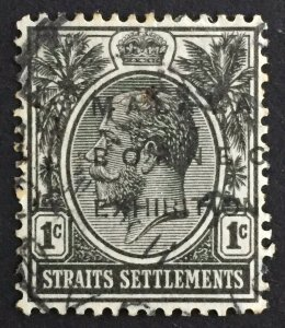 Malaya-Borneo Exhibition MBE opt Straits Settlement KGV 1c USED No Hyphen & Stop
