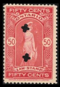 ONTARIO REVENUE TAX 1929 SCARCE VINTAGE 50c #OL73  FINE USED LAW STAMP