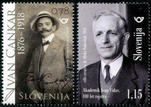 HERRICKSTAMP NEW ISSUES SLOVENIA Sc.# 1257-58 Ivan Cankar & Ivan Vidav