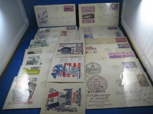 U.S. FDC  - 1930s & 1940s STATEHOOD ANNIVERSARIES - LOT OF 19 COVERS