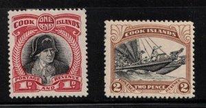 COOK ISLANDS Scott # 91-2 MH - Captain Cook & Double Canoe 2