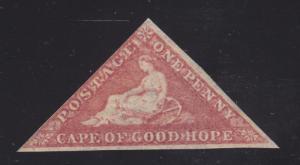Cape of Good Hope, Sc 3 MOG. 1857 1p rose Hope Seated, F-VF