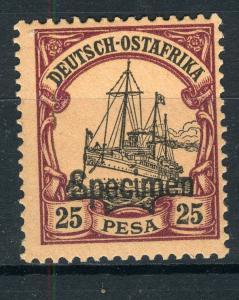 SPECIMEN Overprint on German East Africa 25 Pesa Yacht, MLH