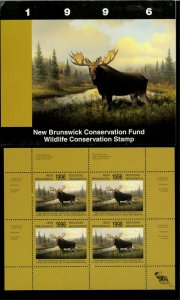 NEW BRUNSWICK #3M 1996 MOOSE CONSERVATION STAMP MINI SHEET OF 4 IN FOLDER