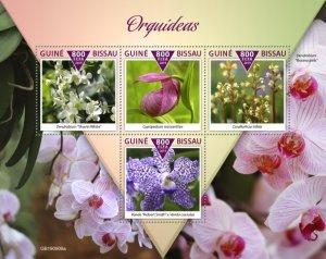 GUINEA BISSAU - 2019 - Orchids - Perf 4v Sheet - M N H