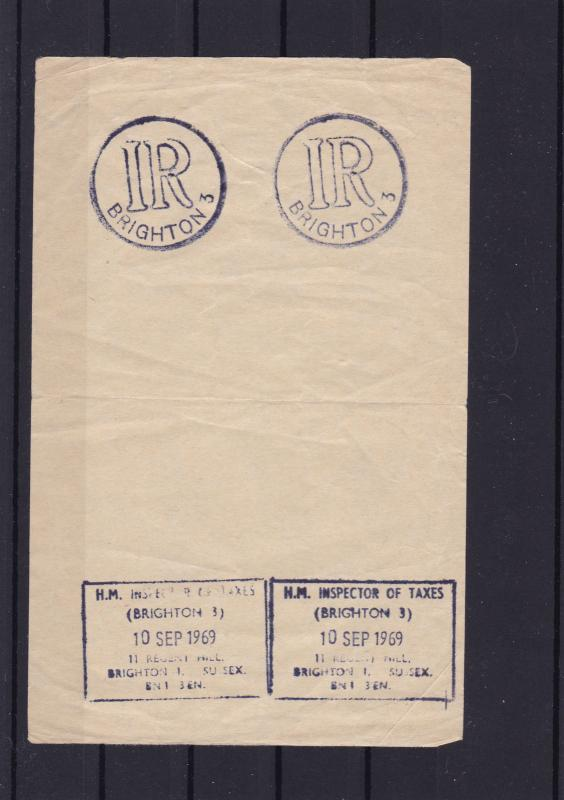 inland revenue brighton hand stamps on piece ref r14256