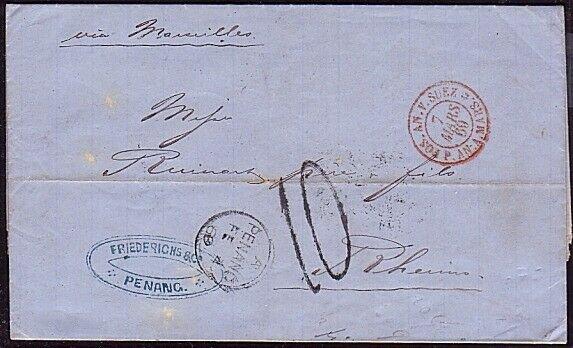 MALAYA PENANG 1869 cover - folded entire PENANG TO RHEIMS.................34620