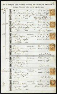 1867 Bank ledger page with R6c revenue stamps handstamp cancels dbl transfer L13